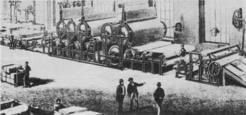 Macchina per stampare in 20 colori la carta da parati in una stamperia parigina, prima metà 1800
