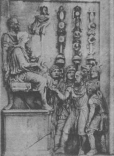 L'imperatore Costantino riceve la sottomissione di un capo barbaro