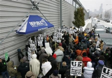 Workers Rallying in front of Republic Windows and Doors in Chicago-December 2008