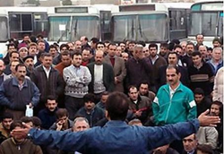 Striking bus workers mass meeting